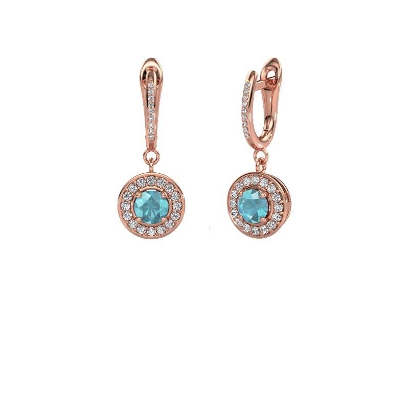 Pendants d'oreilles Ninette 2 585 or rose topaze bleue 5 mm