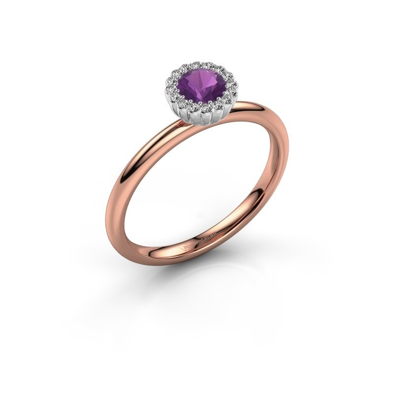 Engagement ring Queen 585 rose gold amethyst 4.2 mm