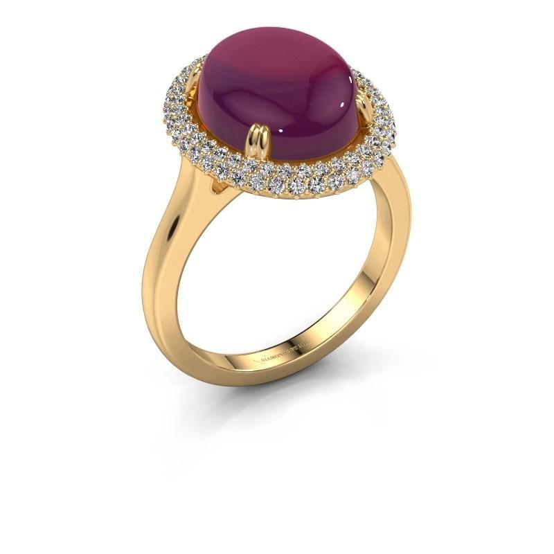 Ring Jayna 585 goud rhodoliet 12x10 mm