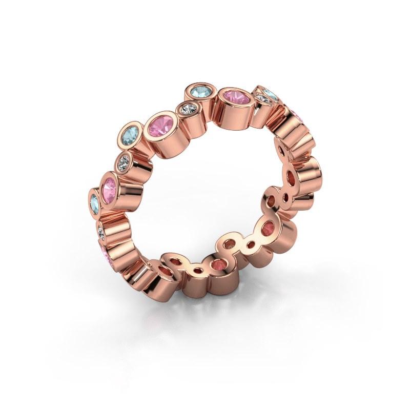 Ring Tessa 585 rosé goud roze saffier 2.5 mm