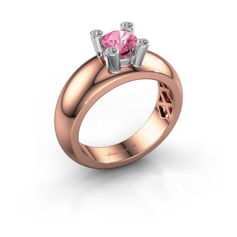 Ring Cornelia Round 585 rose gold pink sapphire 5 mm