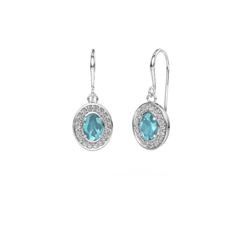 Drop earrings Layne 1 585 white gold blue topaz 6.5x4.5 mm
