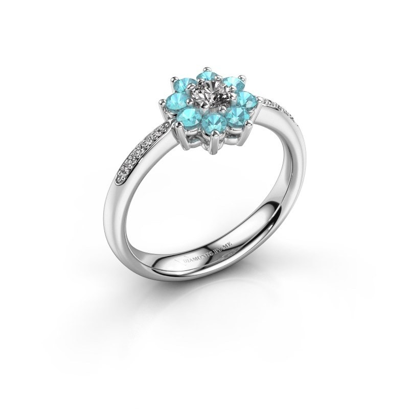 Verlovingsring Camille 2 950 platina blauw topaas 3.4 mm