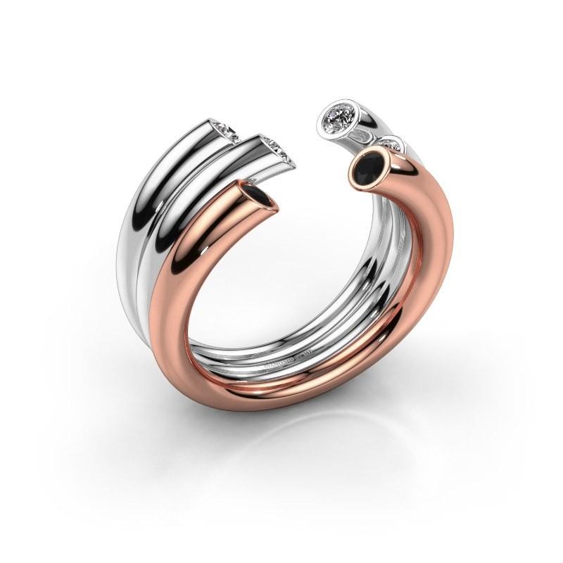 Ring Noelle 585 rose gold black diamond 0.352 crt