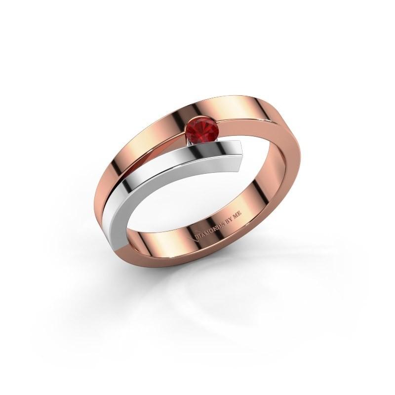 Ring Rosario 585 rosé goud robijn 3 mm