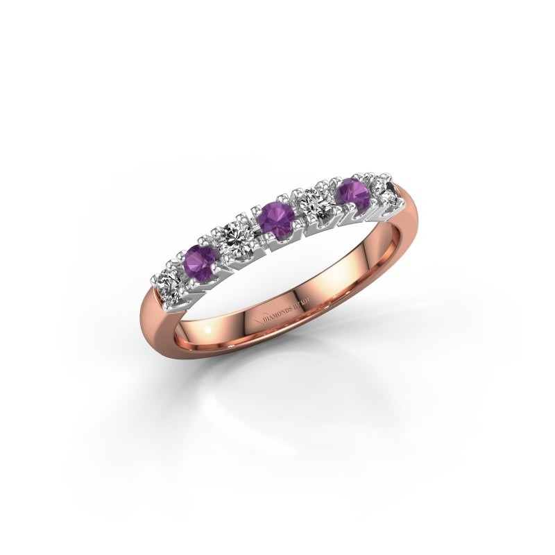 Engagement ring Rianne 7 585 rose gold amethyst 2.4 mm
