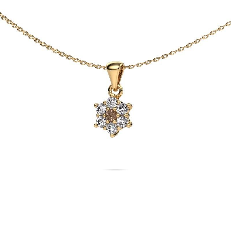 Ketting Chantal 375 goud bruine diamant 0.385 crt