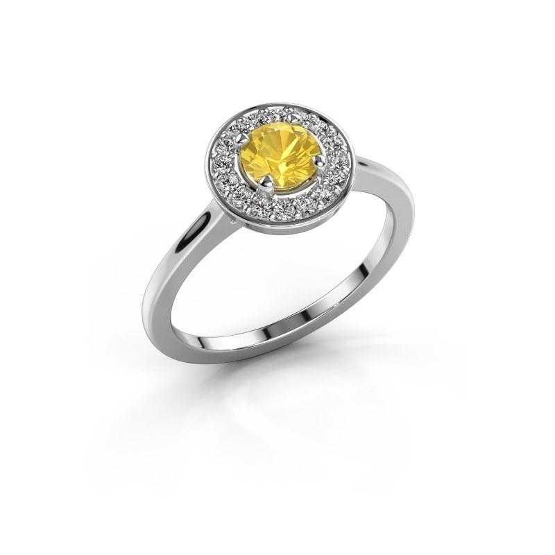 Ring Agaat 1 925 zilver gele saffier 5 mm