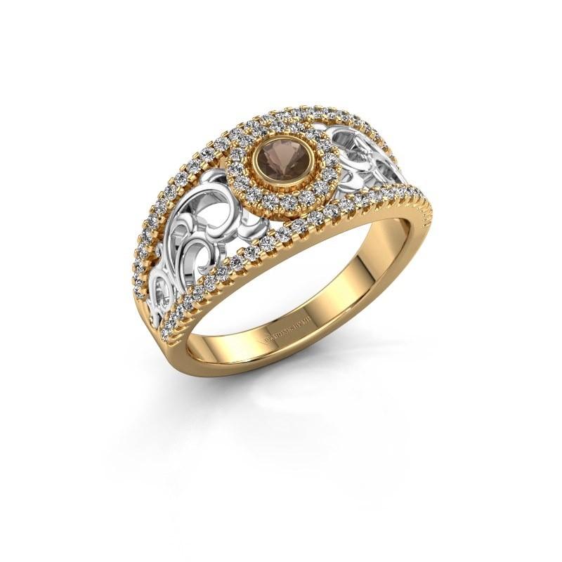 Verlovingsring Lavona 585 goud rookkwarts 3.4 mm