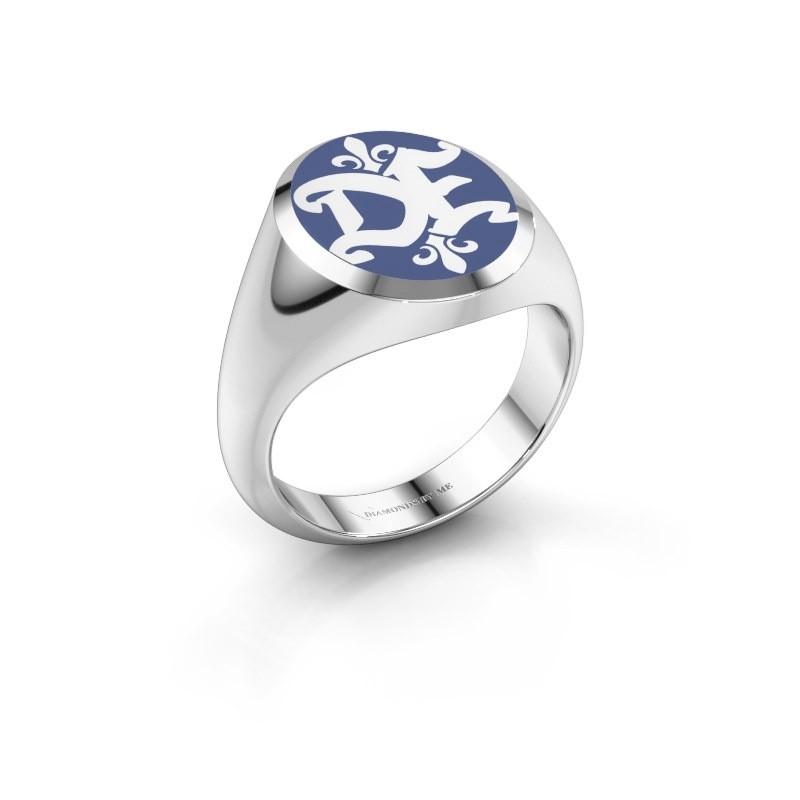 Monogram ring Xandro Emaille 585 witgoud blauwe emaille