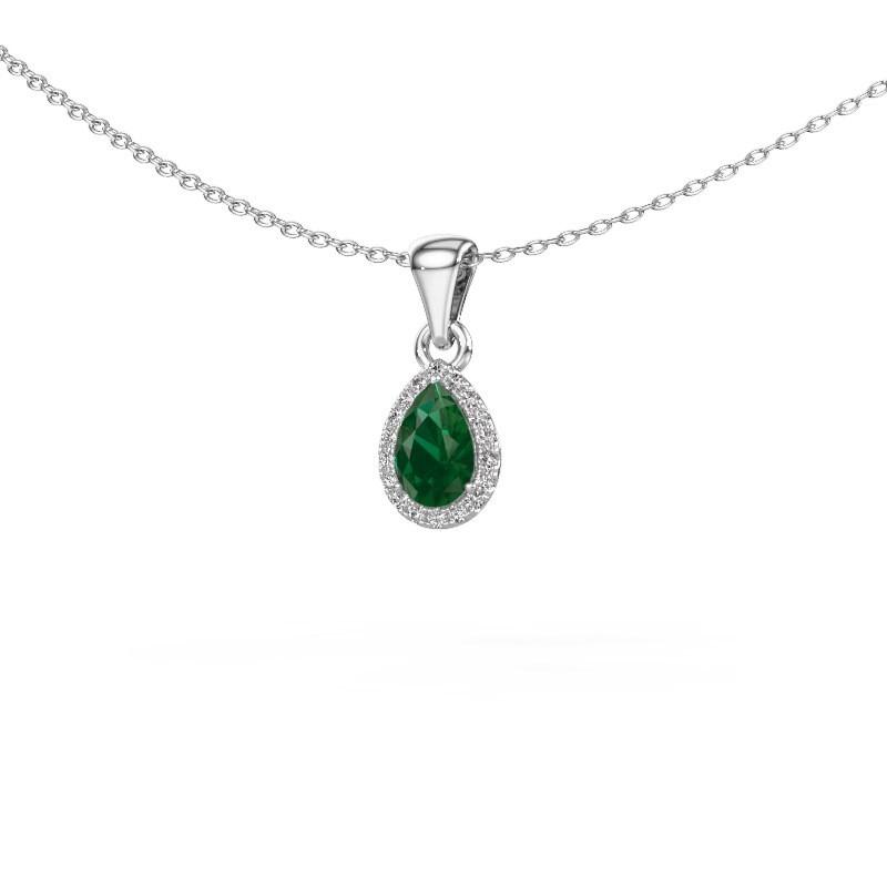Halskette Seline per 585 Weißgold Smaragd 6x4 mm