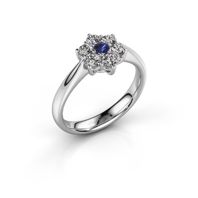 Promise ring Chantal 1 585 witgoud saffier 2.7 mm