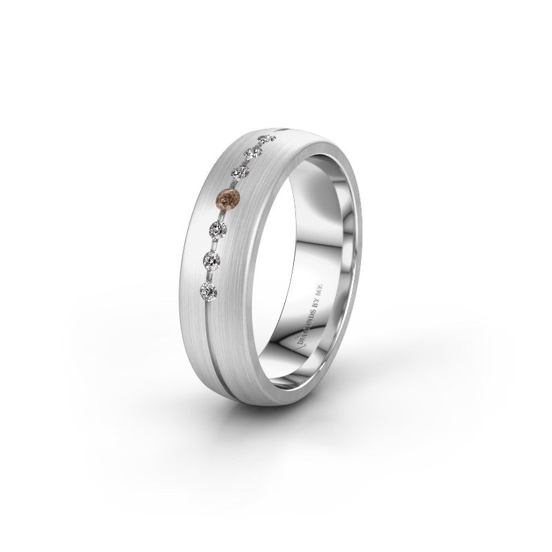 Trouwring WH0162L25A 375 witgoud bruine diamant ±5,5x1.7 mm