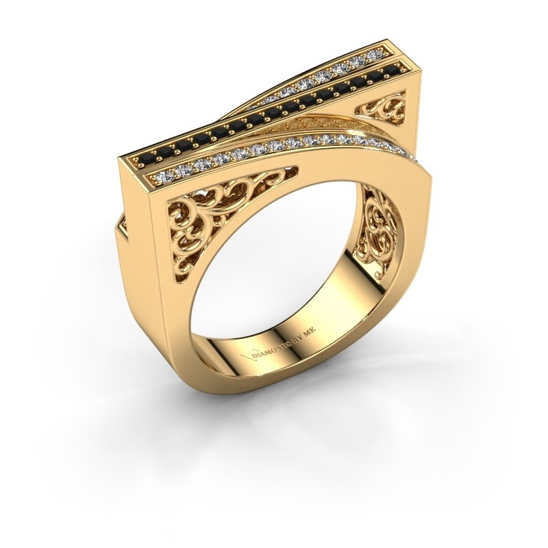 Ring Magda 375 gold black diamond 0.36 crt
