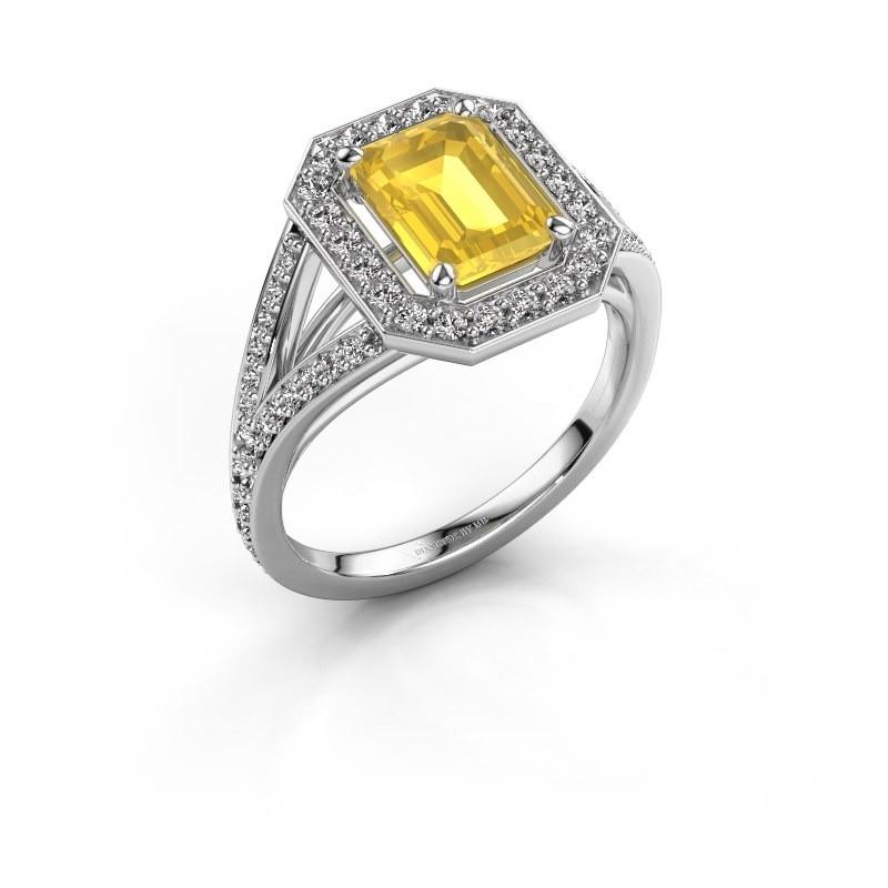 Promise ring Angelita EME 950 platina gele saffier 8x6 mm