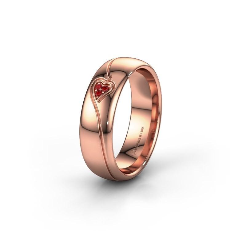 Trouwring WH0168L36AP 375 rosé goud robijn ±6x1.7 mm