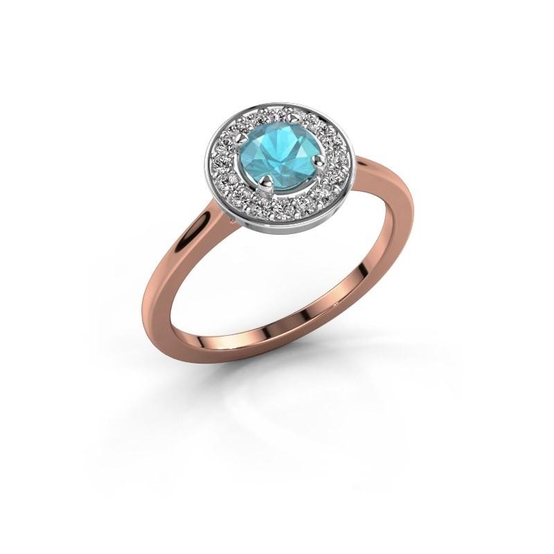 Ring Agaat 1 585 rosé goud blauw topaas 5 mm