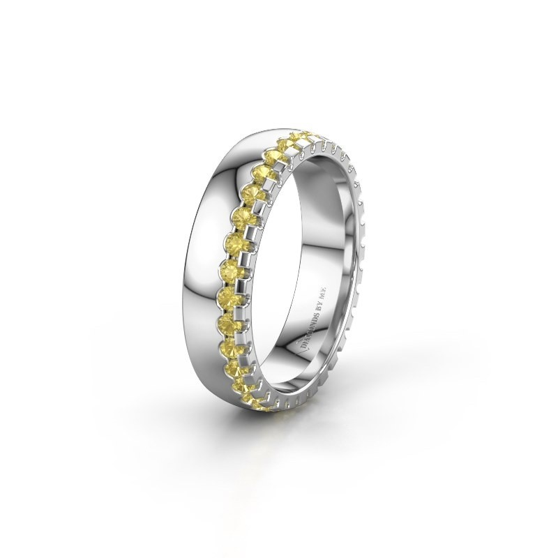 Wedding ring WH6122L25B 585 white gold yellow sapphire ±5x2 mm