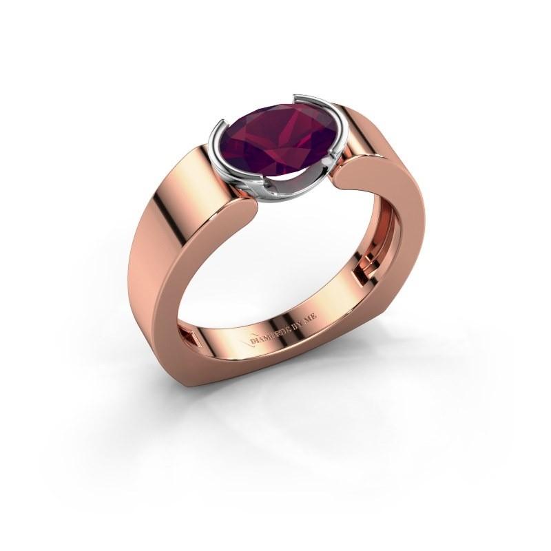 Ring Tonya 585 rosé goud rhodoliet 8x6 mm