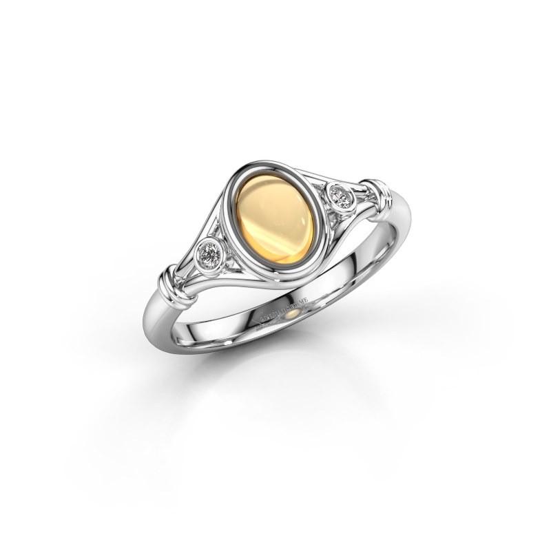 Ring Scarlett 585 witgoud citrien 7x5 mm