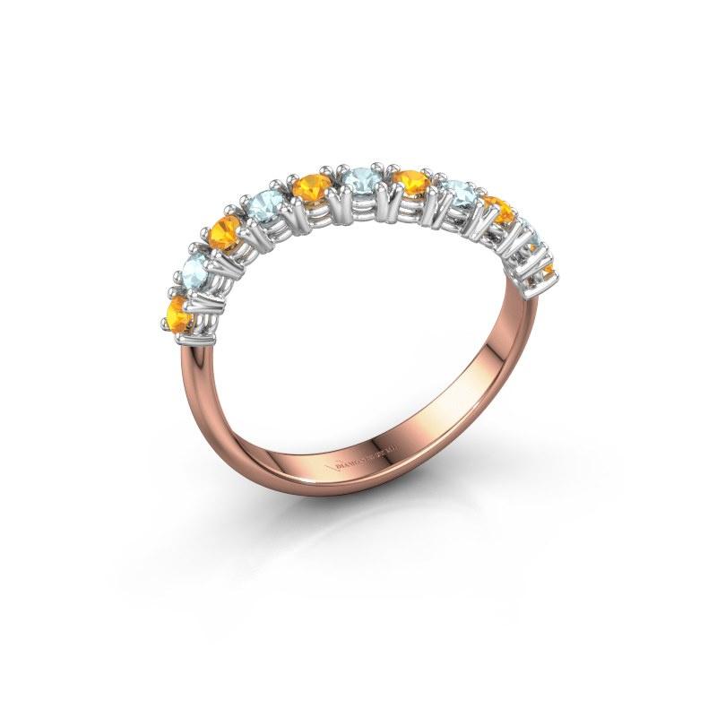 Ring Eliza 585 rosé goud citrien 2 mm