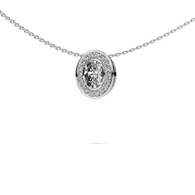 Ketting Madelon 925 zilver zirkonia 6x4 mm