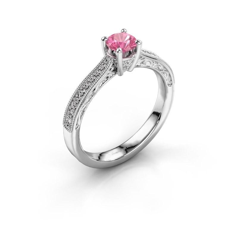 Belofte ring Shonta RND 585 witgoud roze saffier 4.7 mm