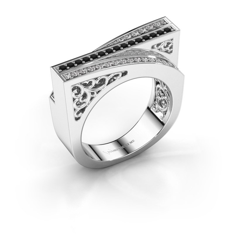 Ring Magda 585 witgoud zwarte diamant 0.36 crt