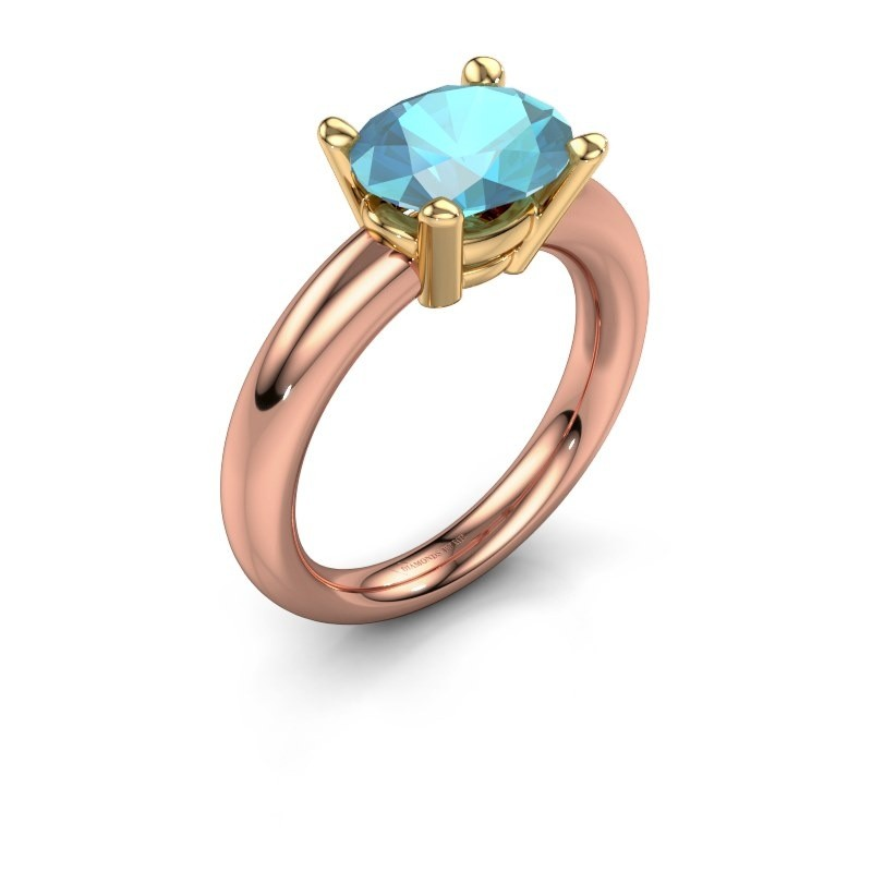Ring Janiece 585 rose gold blue topaz 10x8 mm