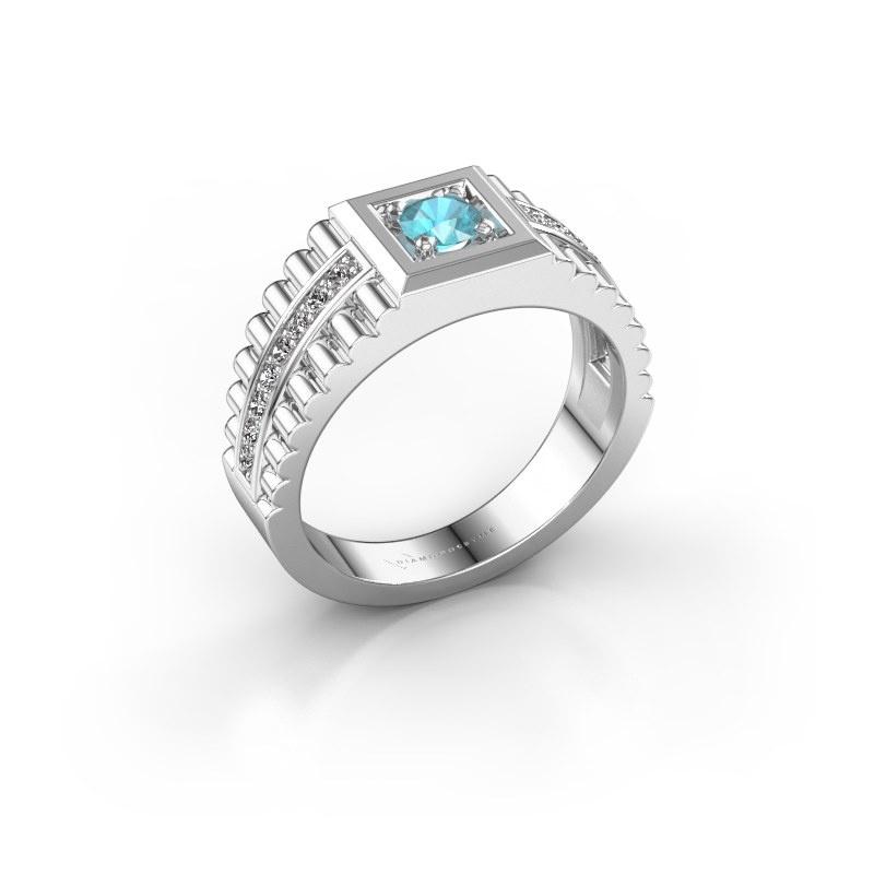 Men's ring Maikel 925 silver blue topaz 4.2 mm