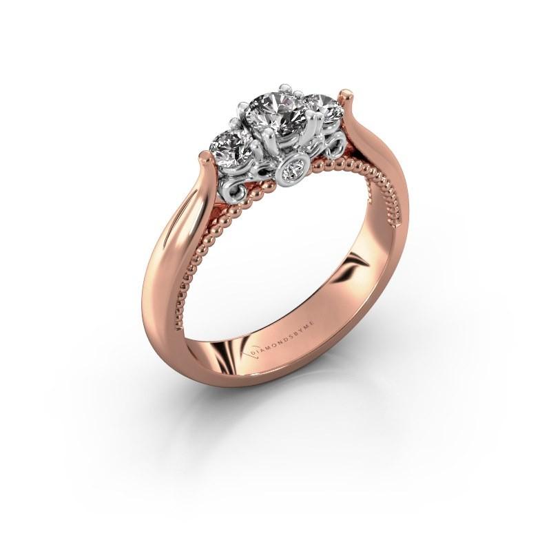 Verlovingsring Tiffani 585 rosé goud diamant 0.49 crt