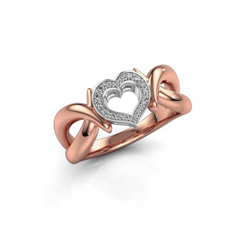 Ring Earlie 1 585 rosé goud zirkonia 1.1 mm