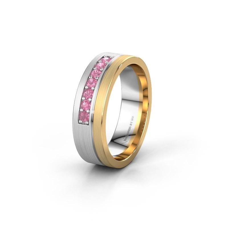 Trouwring WH0312L16AM 585 witgoud roze saffier ±6x1.7 mm