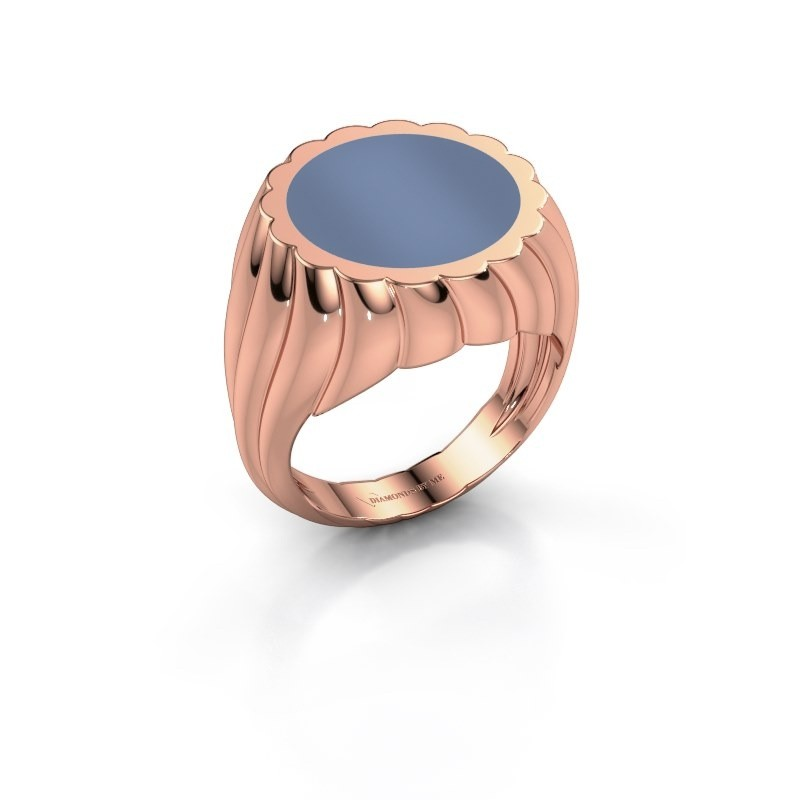 Zegelring Mano 375 rosé goud licht blauwe lagensteen 13 mm