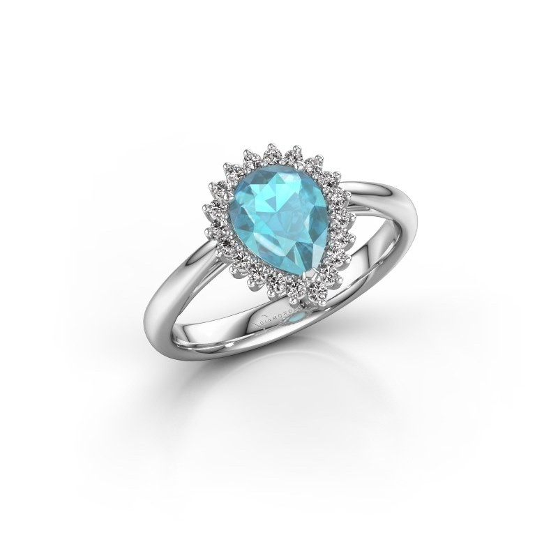 Engagement ring Tilly per 1 925 silver blue topaz 8x6 mm
