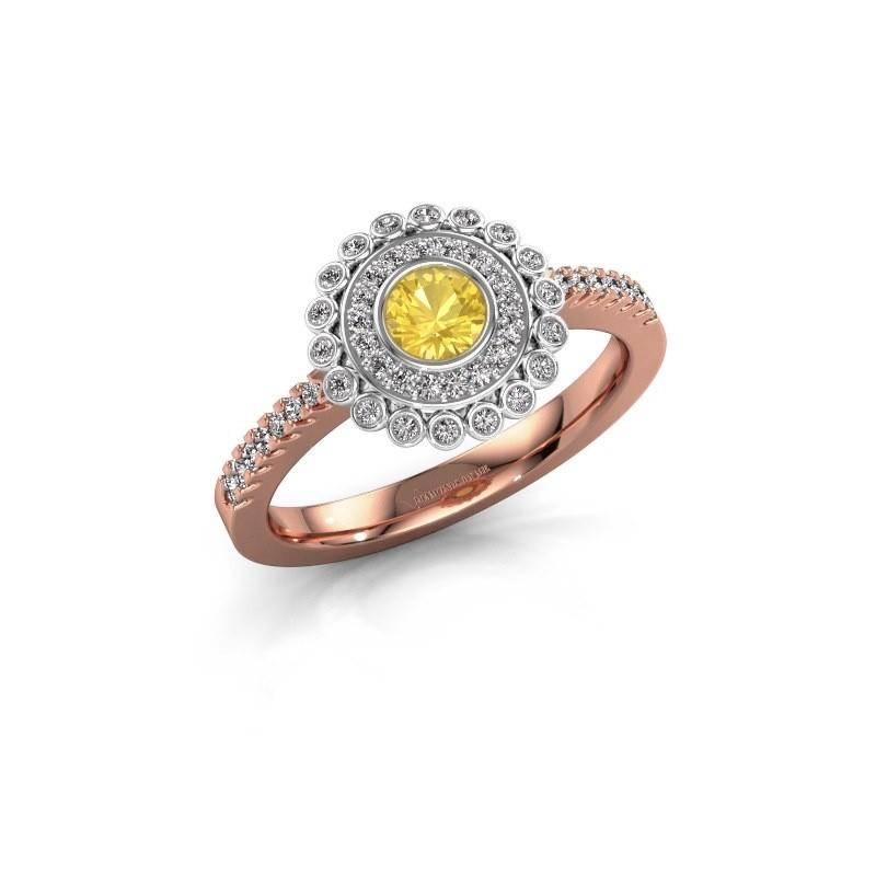Verlovingsring Shanelle 585 rosé goud gele saffier 4 mm