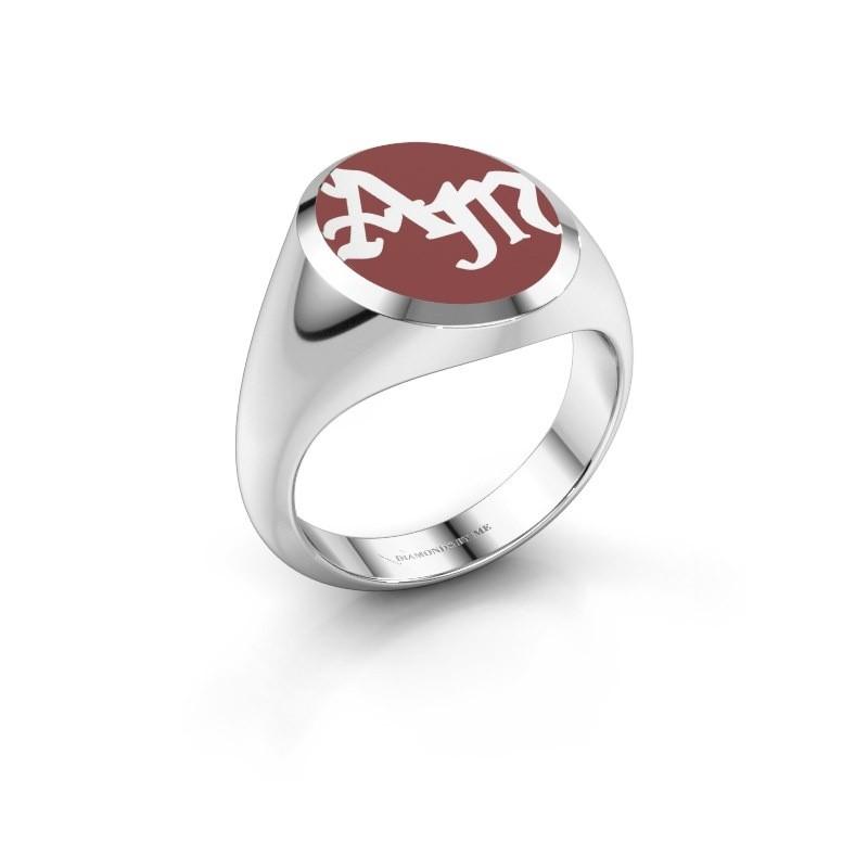 Monogram ring Brad Emaille 925 zilver