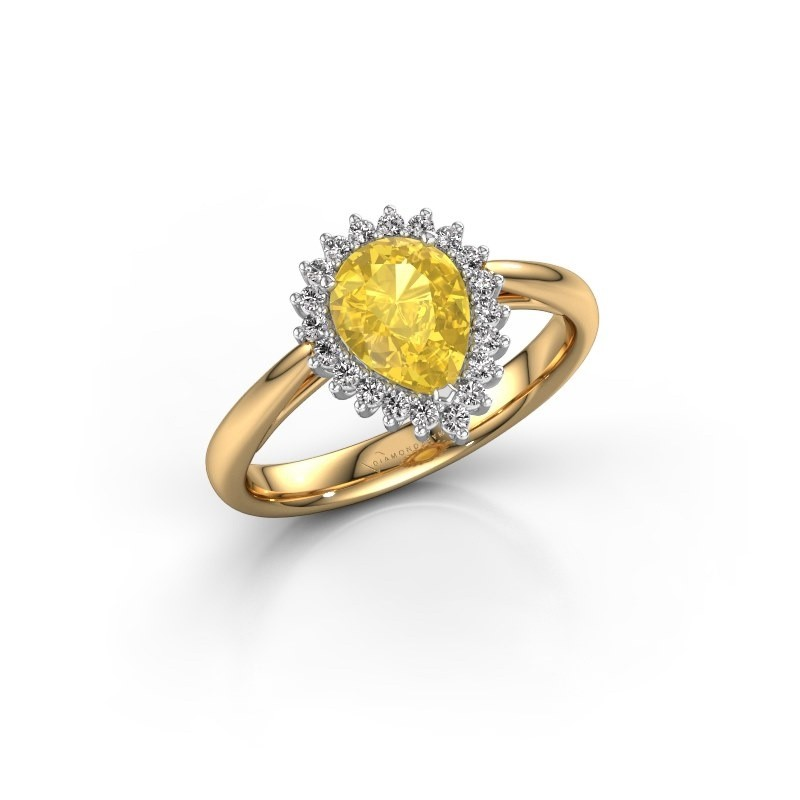 Engagement ring Tilly per 1 585 gold yellow sapphire 8x6 mm