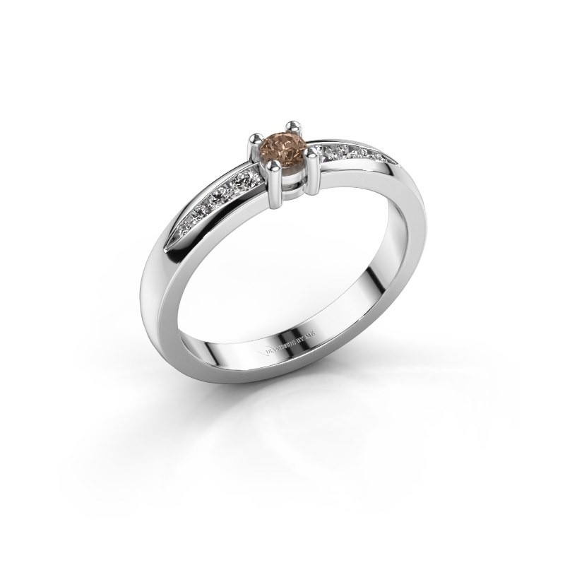 Verlovingsring Zohra 950 platina bruine diamant 0.237 crt