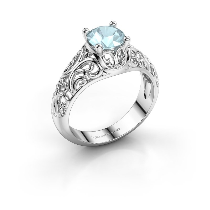Ring Mirte 925 zilver aquamarijn 6.5 mm