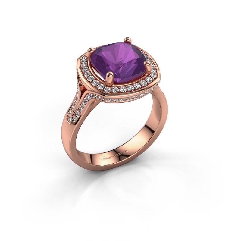 Ring Lili 375 rosé goud amethist 9 mm