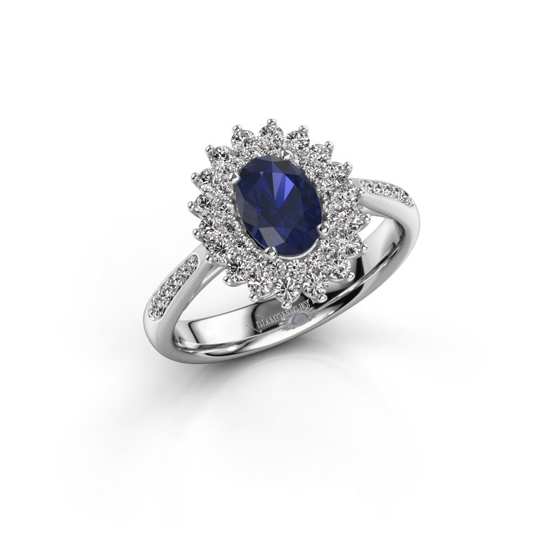 Engagement ring Alina 2 925 silver sapphire 7x5 mm