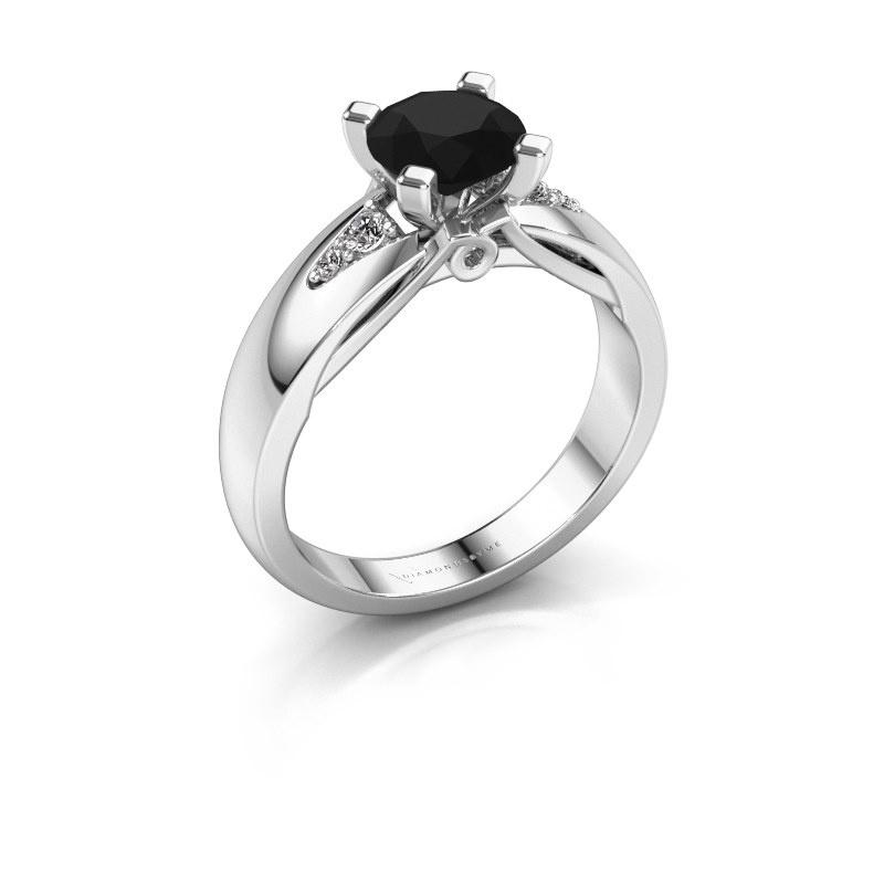 Verlovingsring Ize 585 witgoud zwarte diamant 1.38 crt