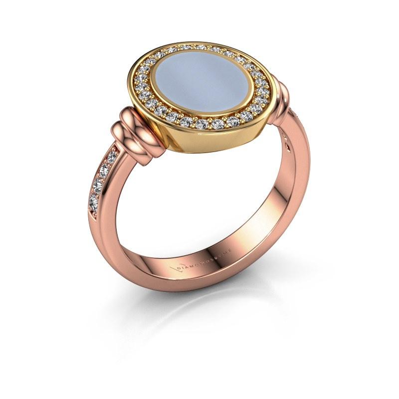 Zegelring Bailey 585 rosé goud licht blauwe lagensteen 10x8 mm