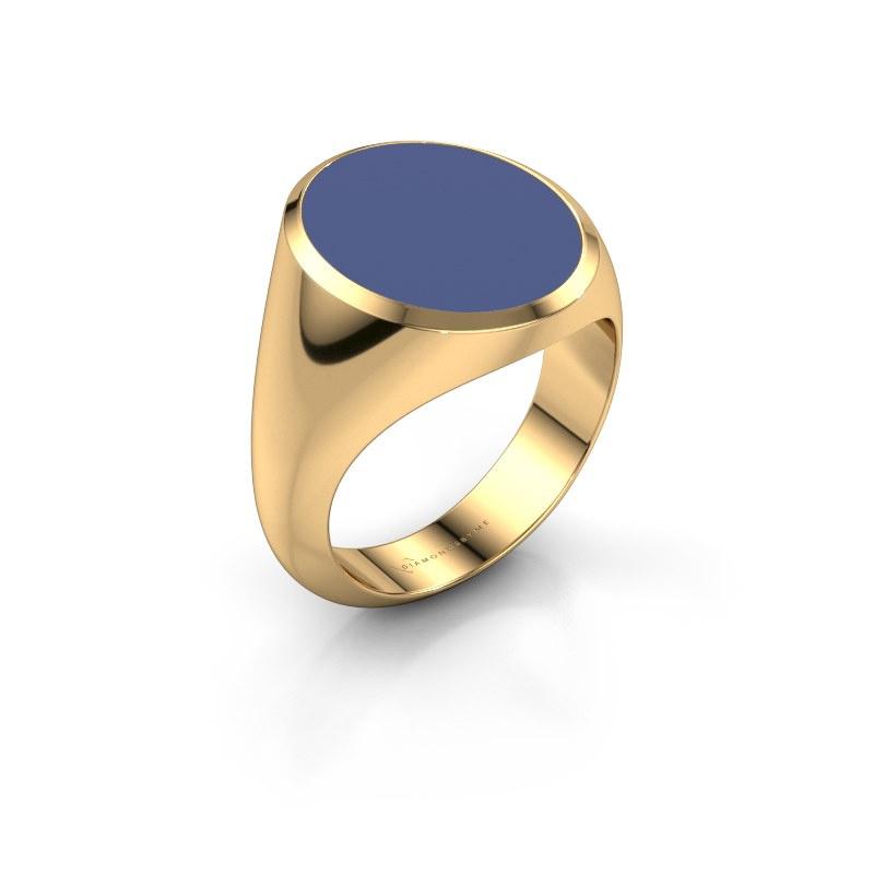 Signet ring Herman 6 585 gold blue enamel 16x13 mm