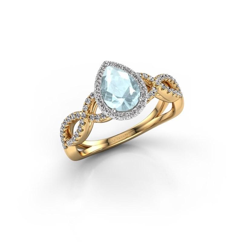 Verlovingsring Dionne pear 585 goud aquamarijn 7x5 mm