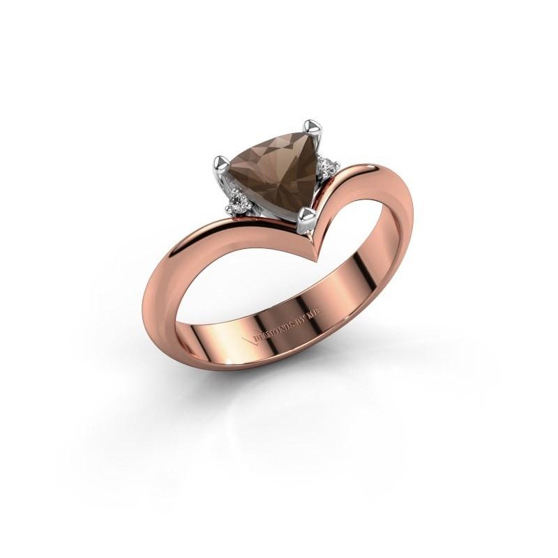 Ring Arlette 585 rosé goud rookkwarts 7 mm