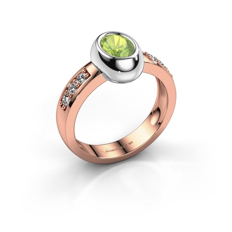 Ring Charlotte Oval 585 rose gold peridot 7x5 mm
