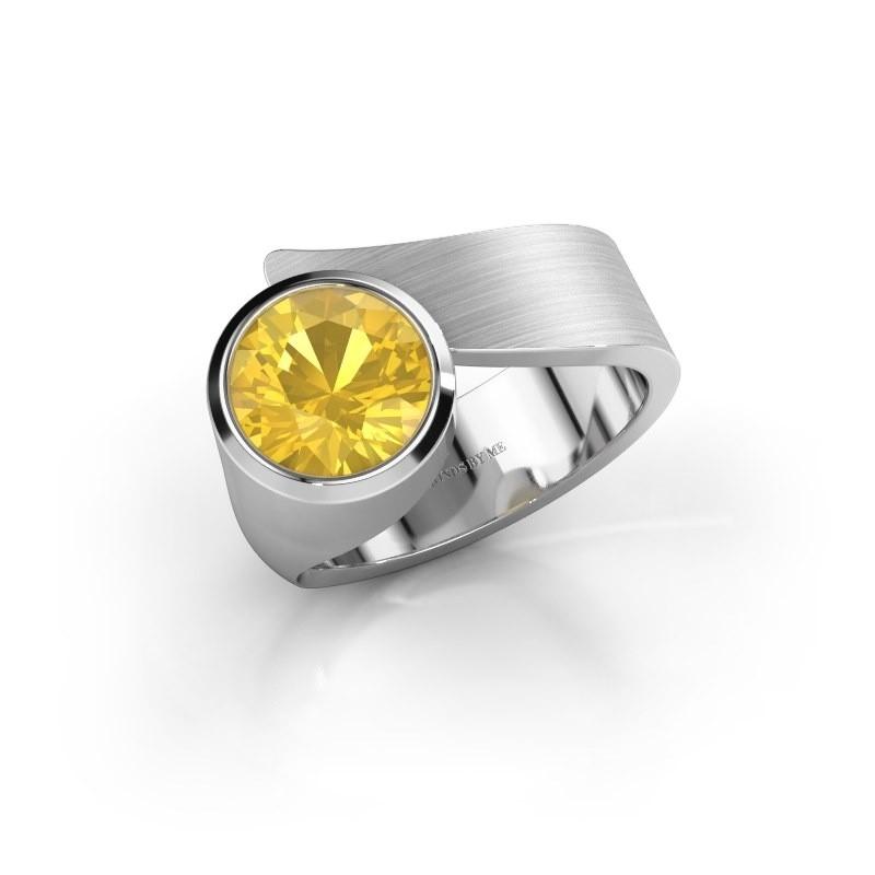 Ring Nakia 925 Silber Gelb Saphir 8 mm
