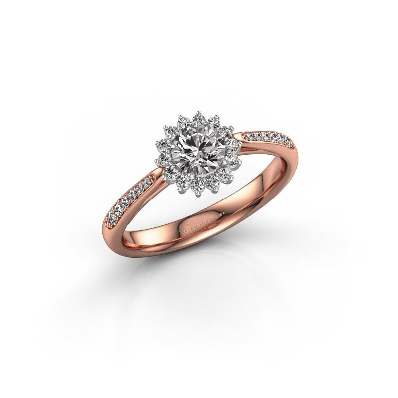 Verlovingsring Tilly RND 2 585 rosé goud diamant 0.40 crt